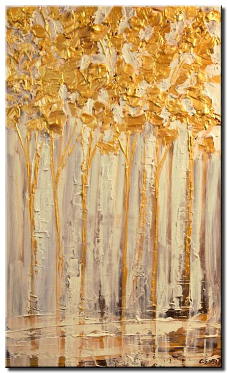 blooming birch trees palette knife painting
