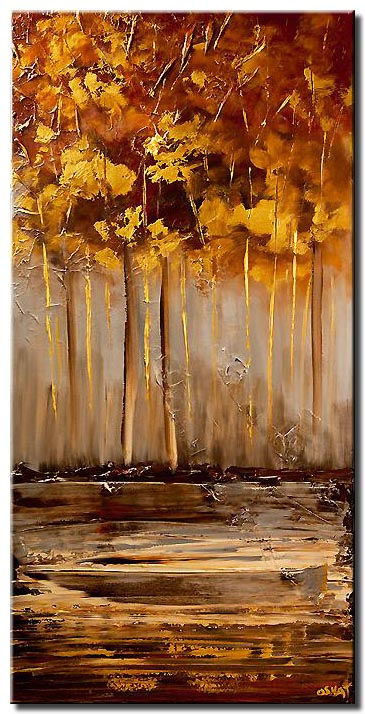 golden forest abstract landscape painting
