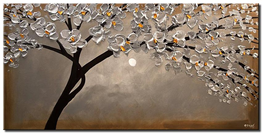 siliver blossom tree painting modern palette knife