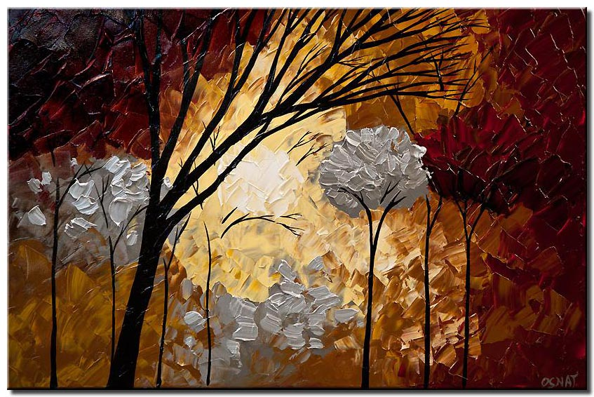 red silver trees painting forest landscape texture