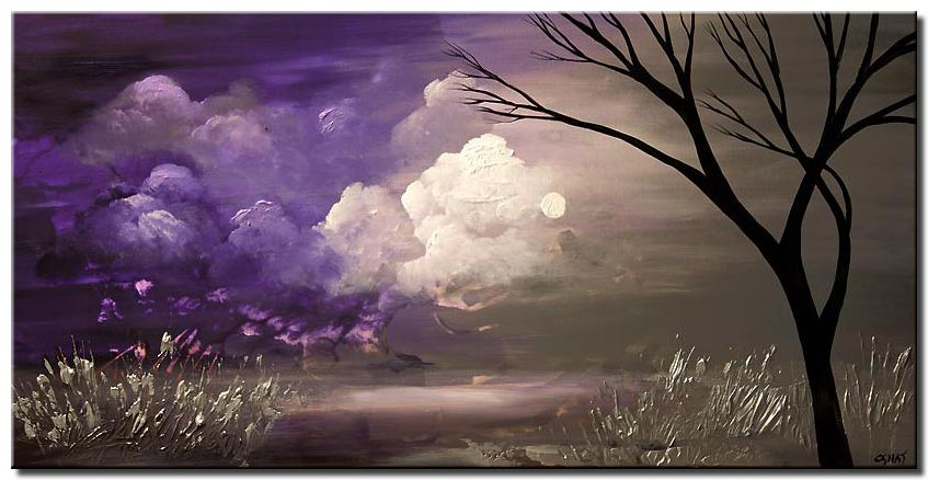 purple gray landscape tree painting