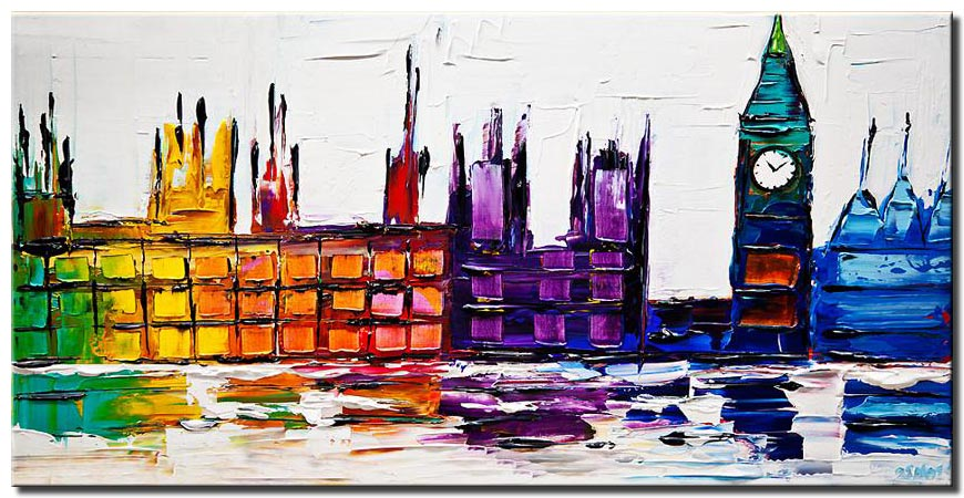 city lights abstract painting modern palette knife