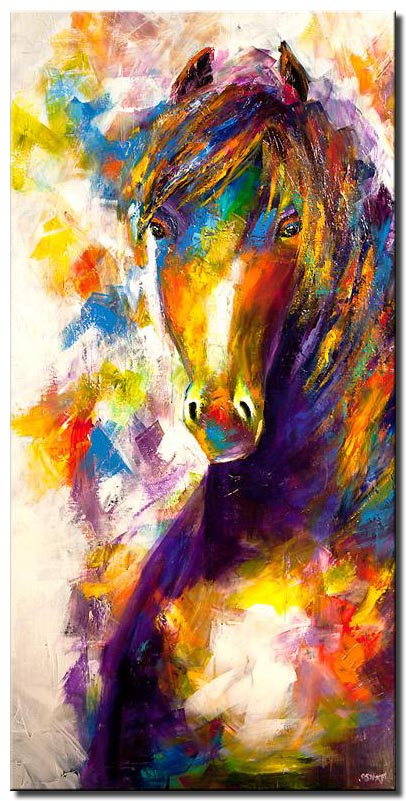 modern colorful horse painting palette knife abstract