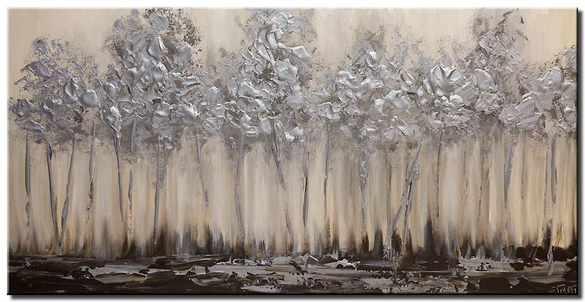silver blooming trees abstract landscape painting