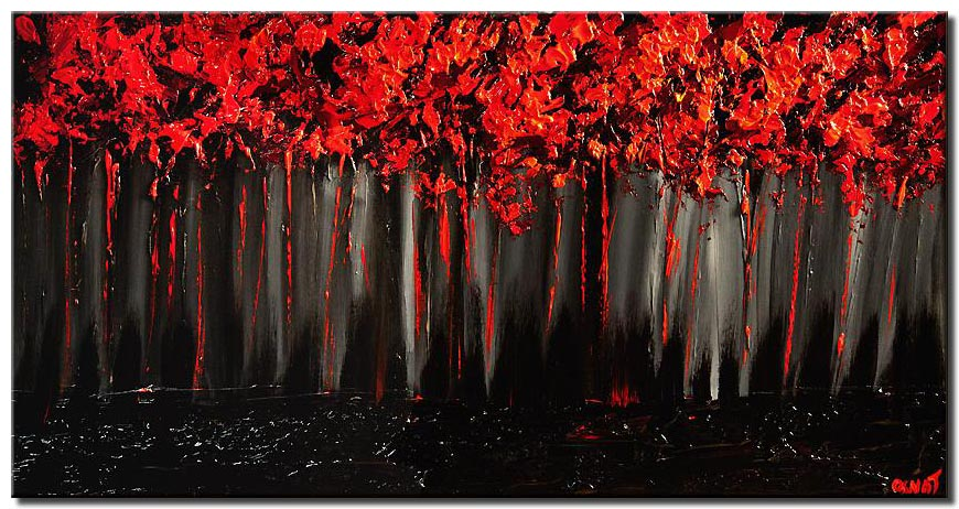 red forest on black background blooming trees painting heavy impasto