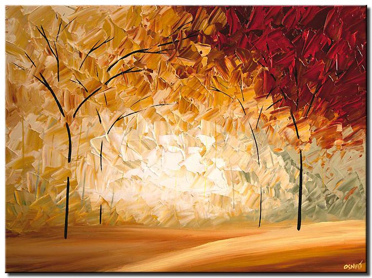 warm tones landscape painting blooming forest trees palette knife