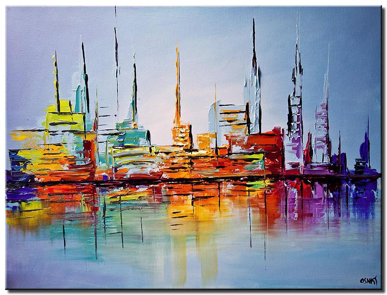 city lights painting modern abstract art palette knife