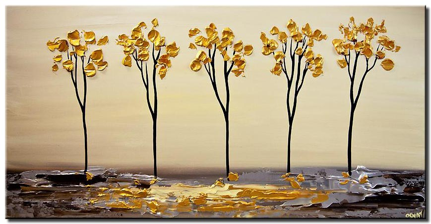 golden blooming trees on silver abstract landscape painting textured