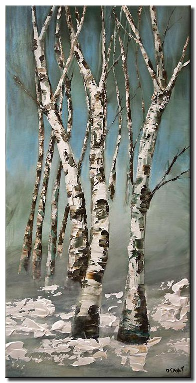 abstract birch trees painting modern palette knife