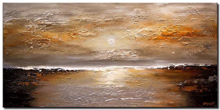 textured abstract silver copper sunset painting
