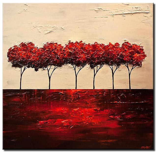 red blooming trees abstract landscape painting