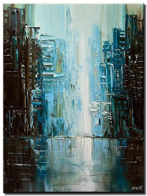 teal abstract city painting modern palette knife