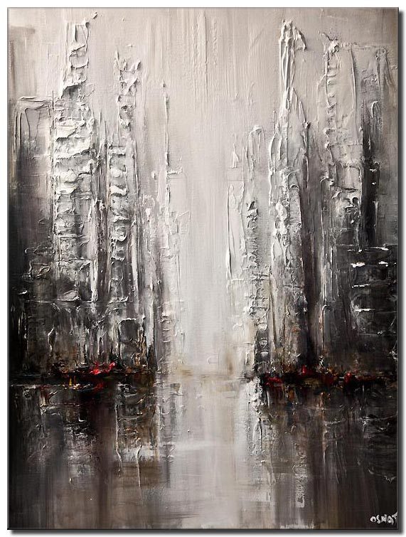 silver abstract city painting modern palette knife