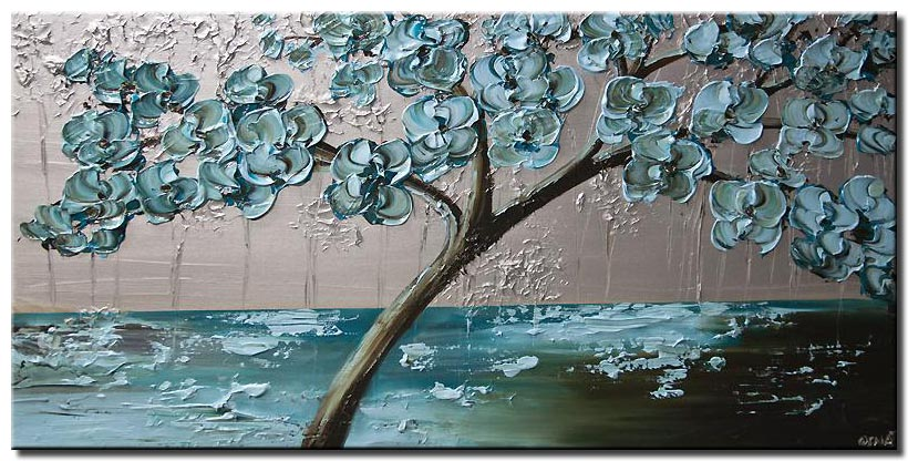 flowering tree painting light blue silver palette knife