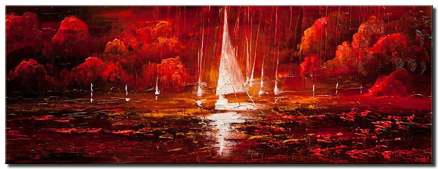red abstract sailboats painting modern palette knife