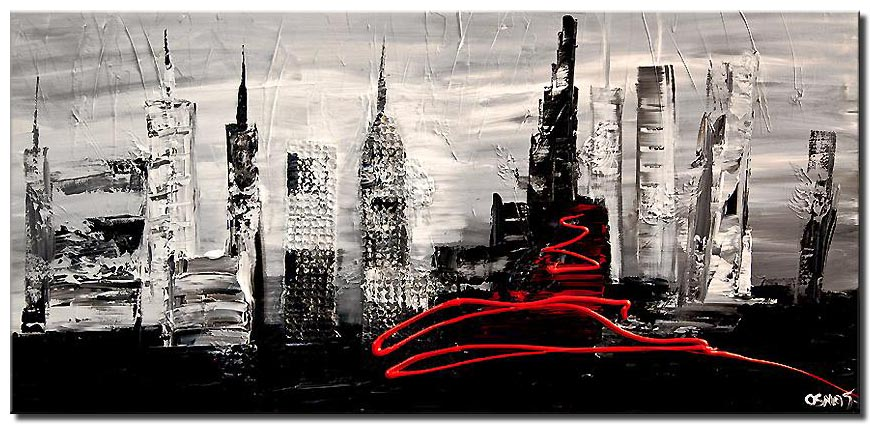 black white abstract city painting heavy impasto textured palette knife