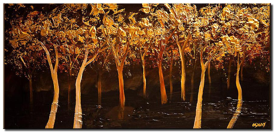 golden blooming trees on black painting abstract landscape textured