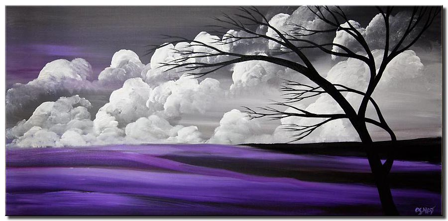 purple gray tree painting abstract landscape
