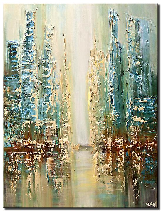 heavy textured abstract city painting modern palette knife