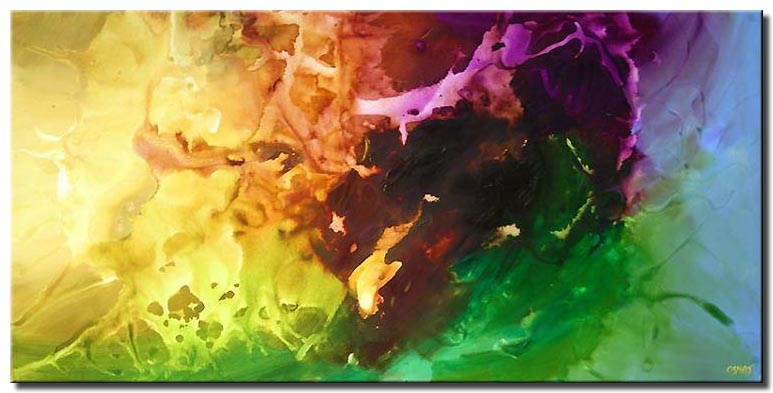 canvas print of colorful abstract in yellow green and brown