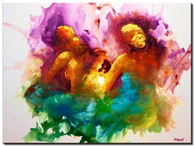 canvas print of colorful abstract two women