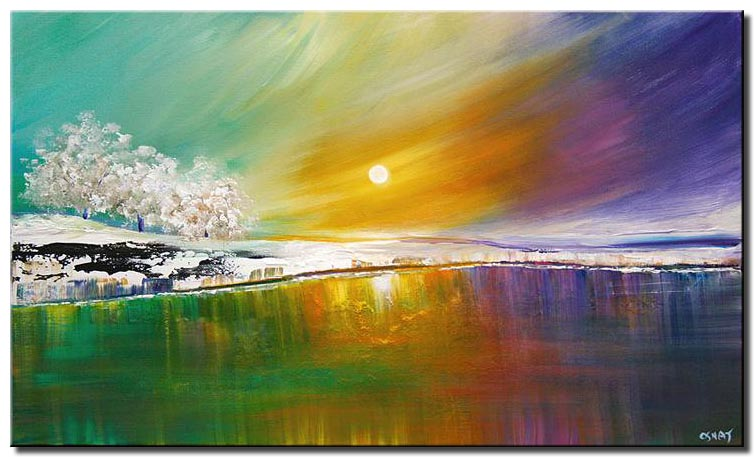 canvas print of modern landscape art lake trees and colorful sky