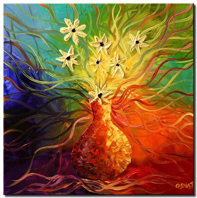 canvas print of colorful painting vase with yellow flowers