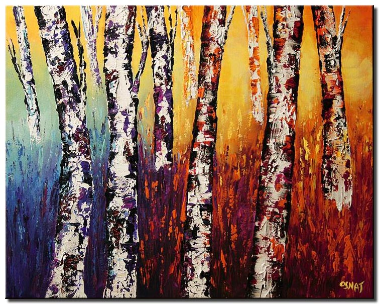 canvas print of colorful birch trees