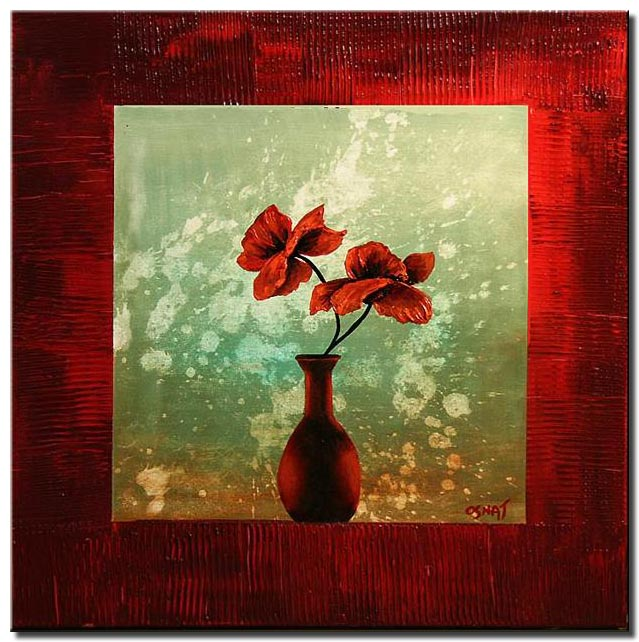 canvas print of red vase and flowers in red frame