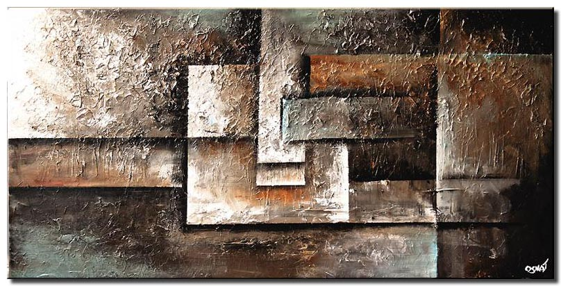 canvas print of abstract painting of squares in earth tones