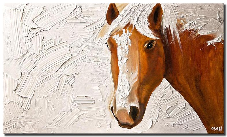 canvas print of horse head on white background