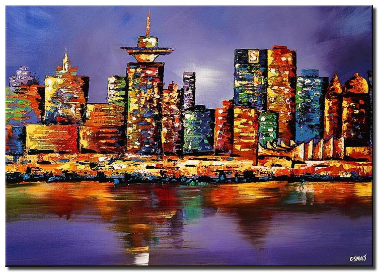 canvas print of vancouver skyline painting