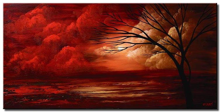 canvas print of landscape painting of red clouds