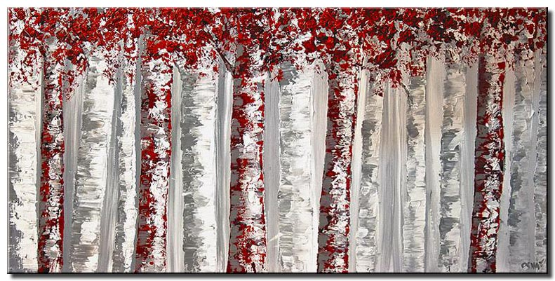canvas print of textured red and white birch trees