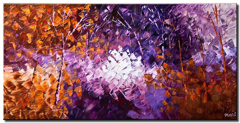 canvas print of blooming forest in purple and brown colors