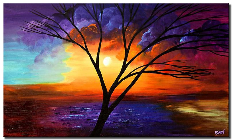 canvas print of painting of naked tree on colorful background
