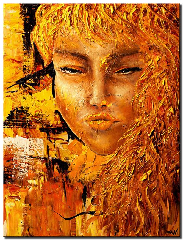 canvas print of painting of woman face in rusty golden colors