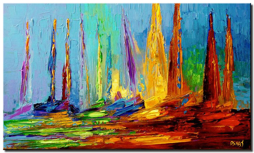 canvas print of colorful sail boats on sea