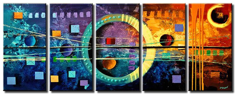 canvas print of colorful geometric painting squares and circles