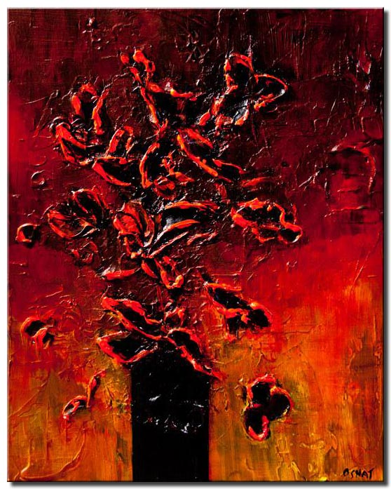 red black flowers in vase heavy texture painting