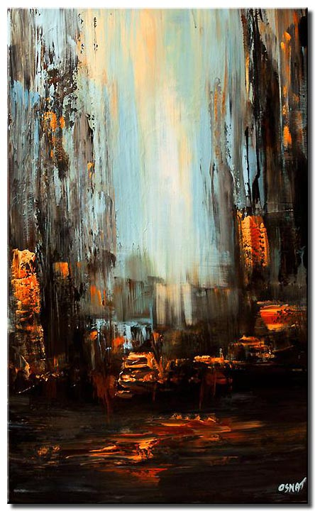 canvas print of vertical abstract painting of taxi and skyscrapers