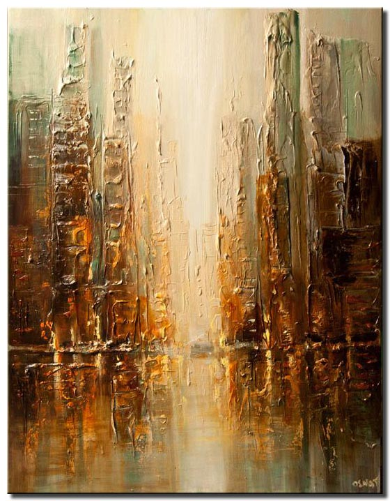 contemporary abstract city painting heavy impasto textured