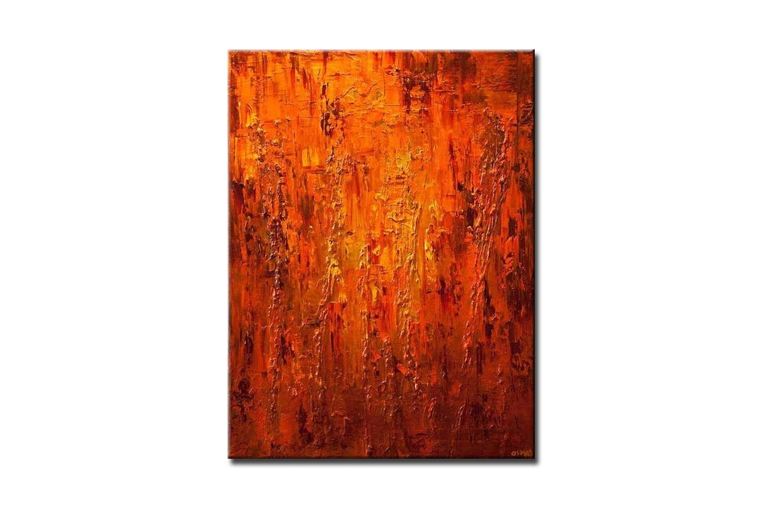 large contemporary orange abstract painting heavy texture modern palette knife