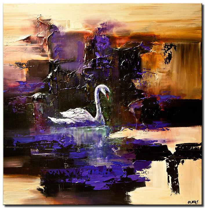 swan painting heavy texture modern palette knife abstract
