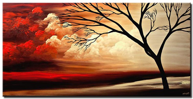 canvas print of landscape painting naked tree and red clouds