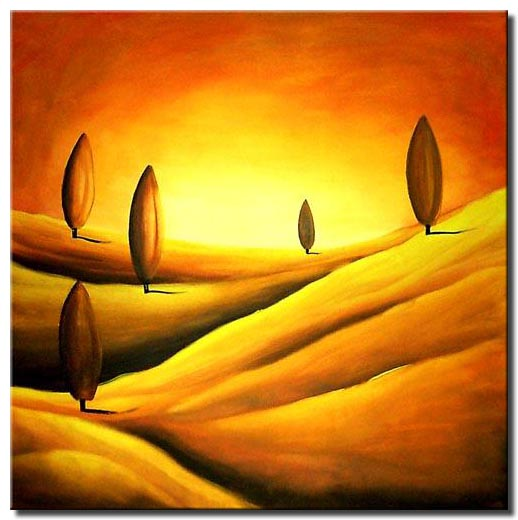 cypress trees hills painting