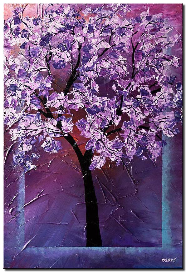 canvas print of blooming cherry tree in lavender colors