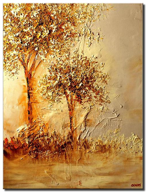 canvas print of landscape of two golden trees