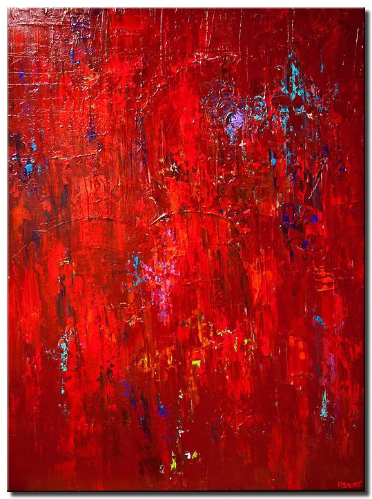 huge large red abstract painting modern palette knife