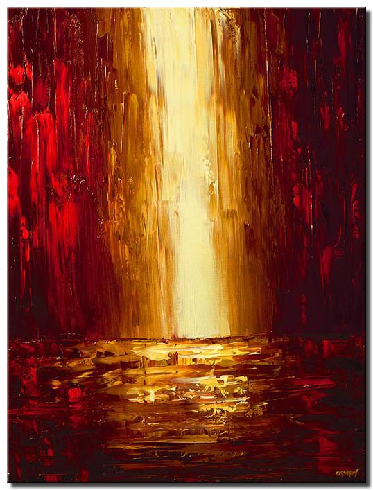 canvas print of red cityscape painting